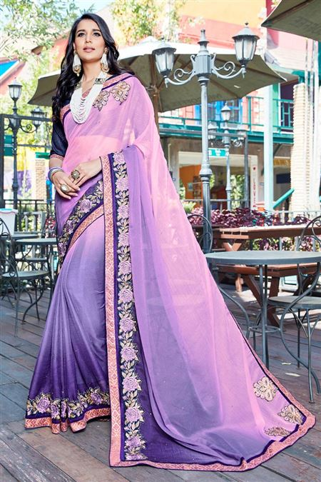 Violet Color Fancy Fabric Designer Saree