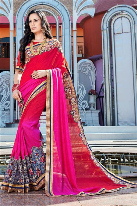 Pink Color Fancy Fabric Designer Saree