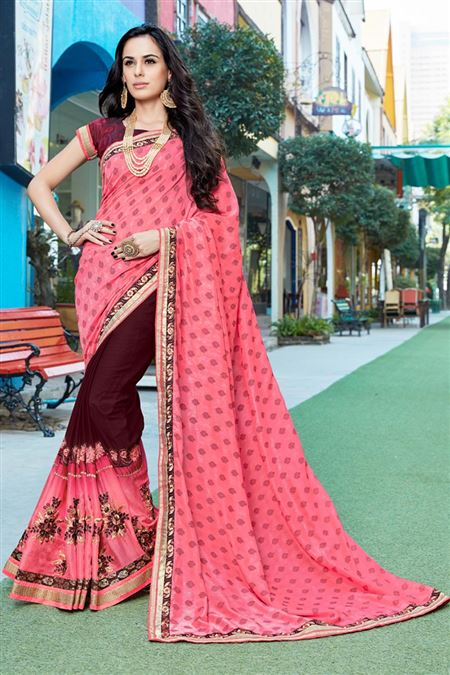 Party Wear Pink Color Fancy Fabric Saree