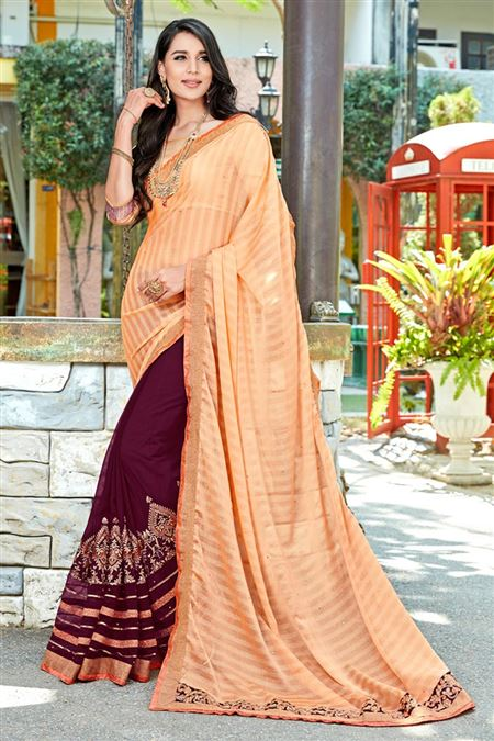 Gorgeous Beige And Purple Color Party Wear Saree