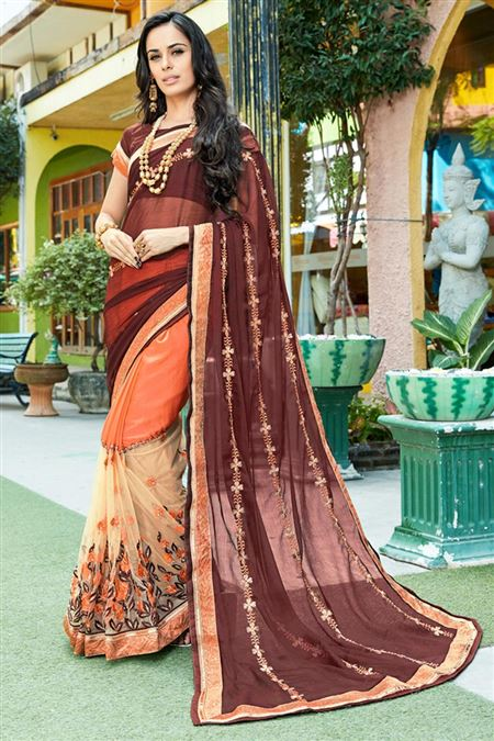 Brown And Orange Color Beauitful Designer Saree