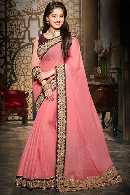 Deepika Singh Pink Color Party Wear Saree