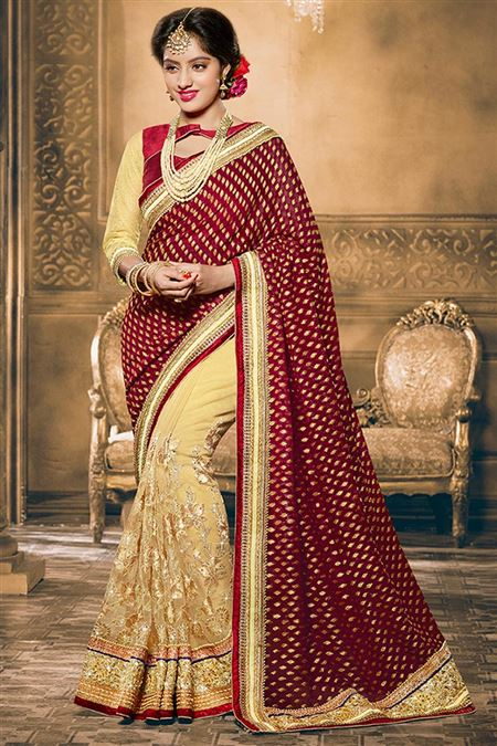 Deepika Singh Maroon And Beige Color Designer Sare