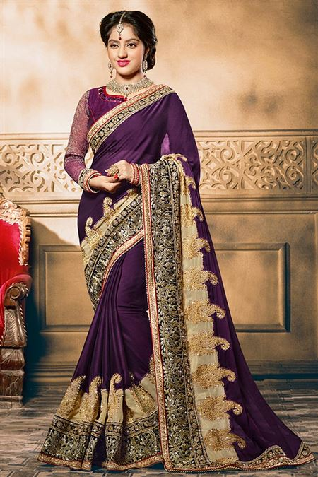 Deepika Singh Purple Color Party Wear Saree