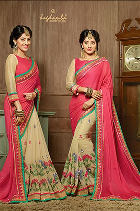 Deepika Singh Pink And Cream Color Designer Saree