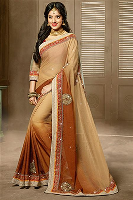 Deepika Singh Beige Color Party Wear Saree