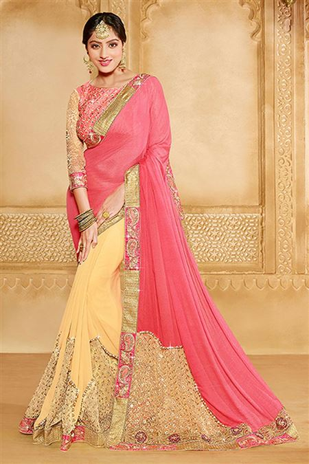Pink And Cream Color Georgette Party Wear Saree