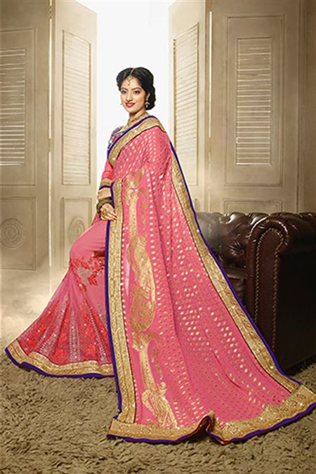 Deepika Sing Designer Pink Color Party Wear Saree