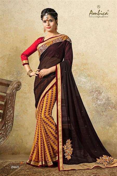 Gorgeous Brown Color Casual Wear Chiffon Saree