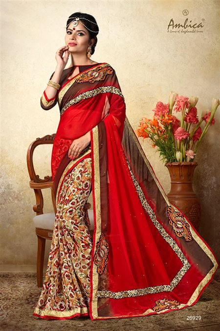 Beautiful Red Color Chiffon Casual Wear Saree
