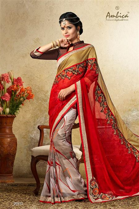 Gorgeous Red Color Casual Wear Chiffon Saree