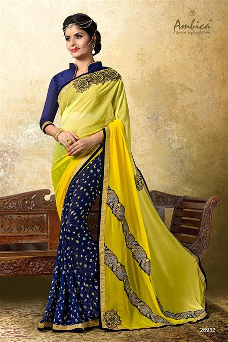 Gorgeous Yellow-Blue Color Casual Wear Chiffon Sar
