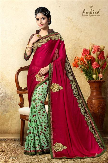 Beautiful Pink Color Chiffon Casual Wear Saree