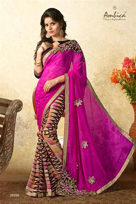 Gorgeous Pink Color Casual Wear Chiffon Saree