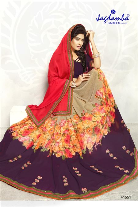 Pink And Beige Color Casual Wear Printed Saree
