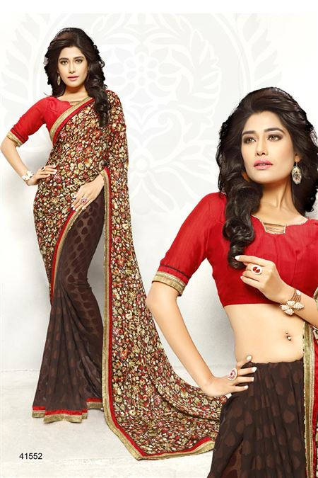 Printed Brown Color Casual Wear Saree