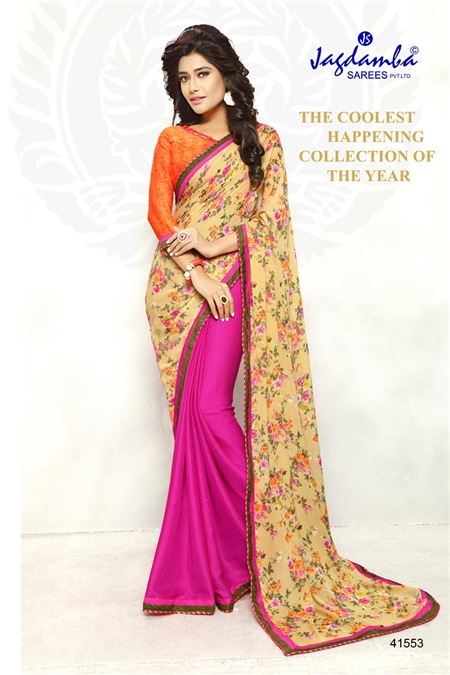 Printed Casual Wear Pink And Beige Color Saree