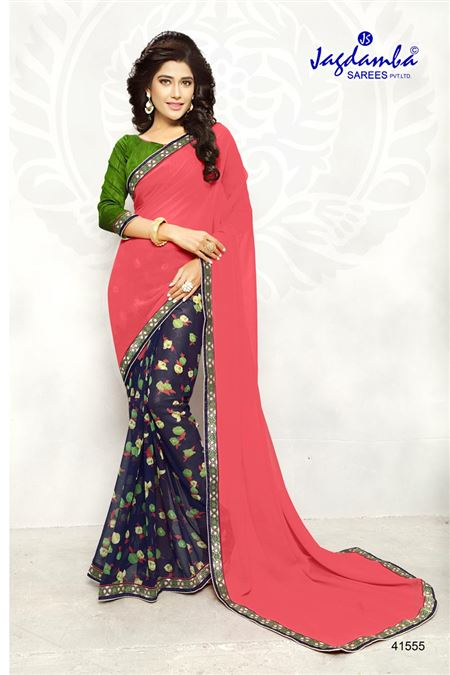 Printed Pink And Blue Color Casual Wear Saree