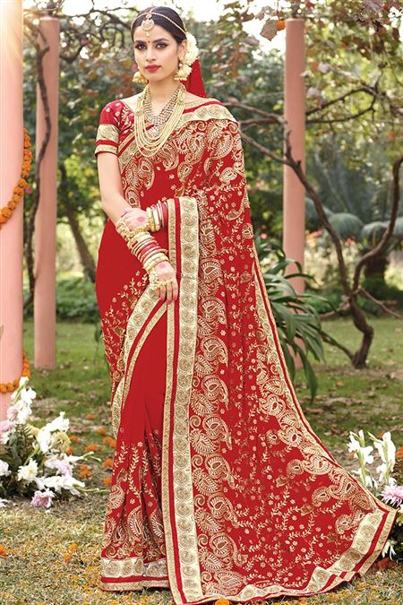 Designer Red Color Bridal Saree