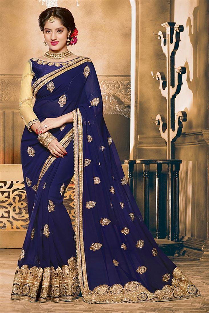 Color Designer deepika singh blue color designer saree