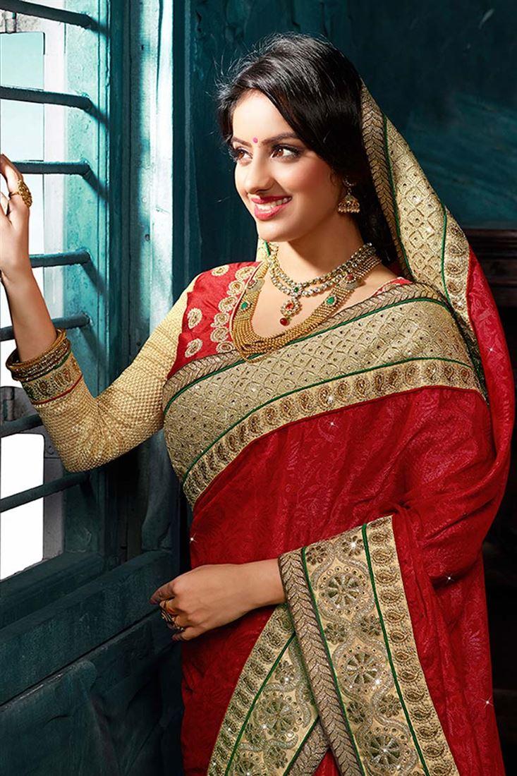 Attractive Deepika Singh Red Designer Saree