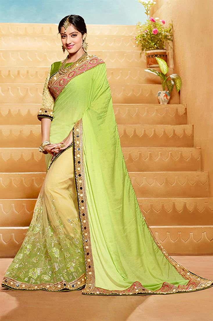 f12b865d88ea Green Color Party Wear Saree With Georgette Fabric