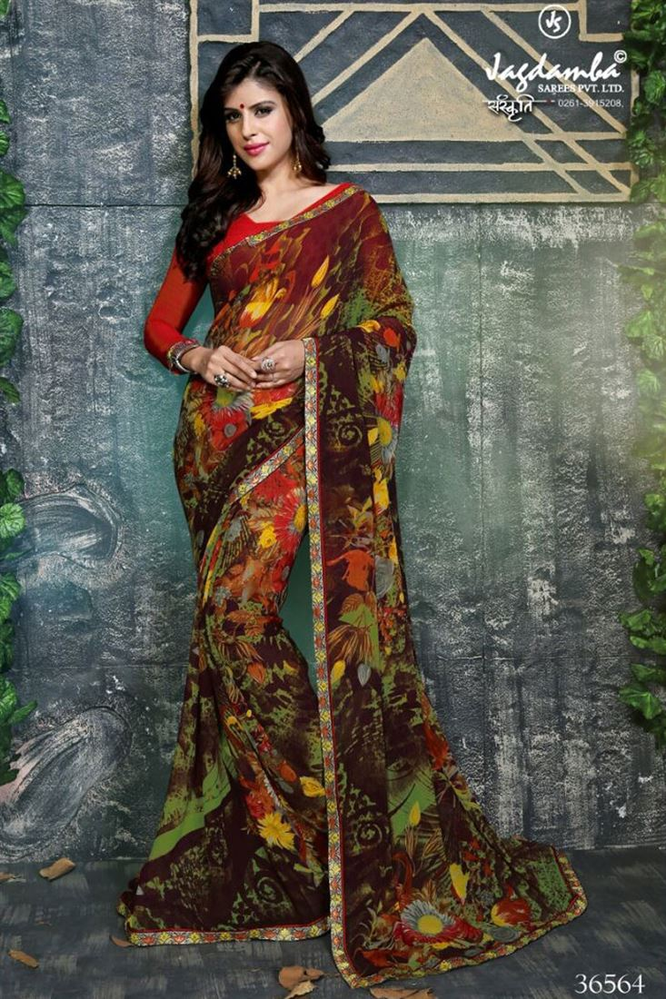 18b9bd4d61 Coffee Color Georgette Fancy Printed Saree-Printed Sarees