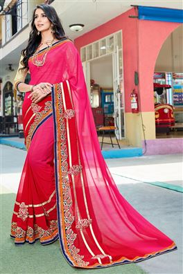 Gorgeous Pink Color Party Wear Saree