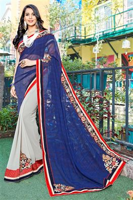 Blue And Grey Color Beauitful Designer Saree