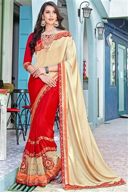 Cream And Red Color Beauitful Designer Saree