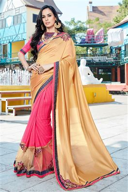 Beige And Pink Color Fancy Fabric Designer Saree