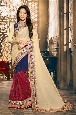 Deepika Singh Cream And Blue Color Designer Saree