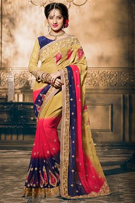 Deepika Singh Beige And Pink Color Party Wear Sare