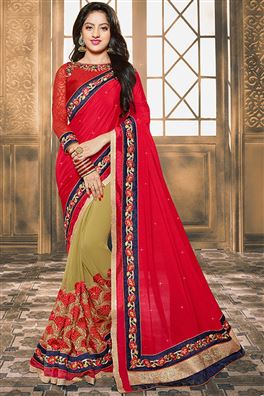 Deepika Singh Beige And Pink Color Designer Saree