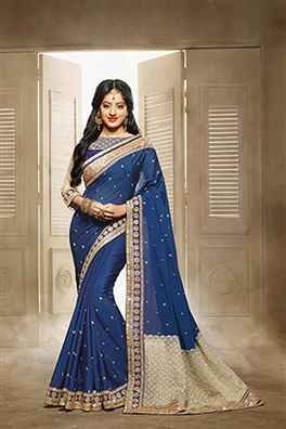 Designer Blue Color Georgette Party Wear Saree