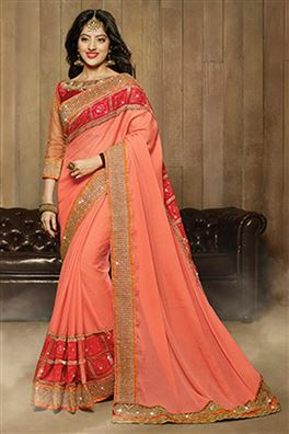 Deepika Sing Pink Color Party Wear Designer Saree