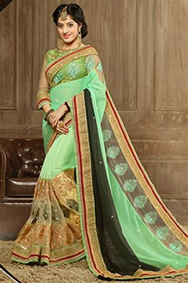 Deepika Sing Designer Green Color Party Wear Saree