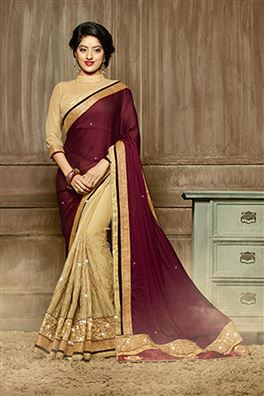 Deepika Sing Wine Color Designer Party Wear Saree