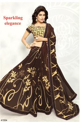 Brown Color Casual Wear Printed Saree