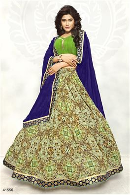 Printed Casual Wear Blue And Green Color Saree