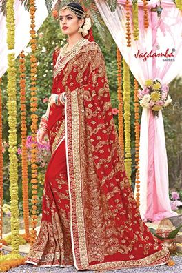 Red Color Designer Wedding Wear Saree